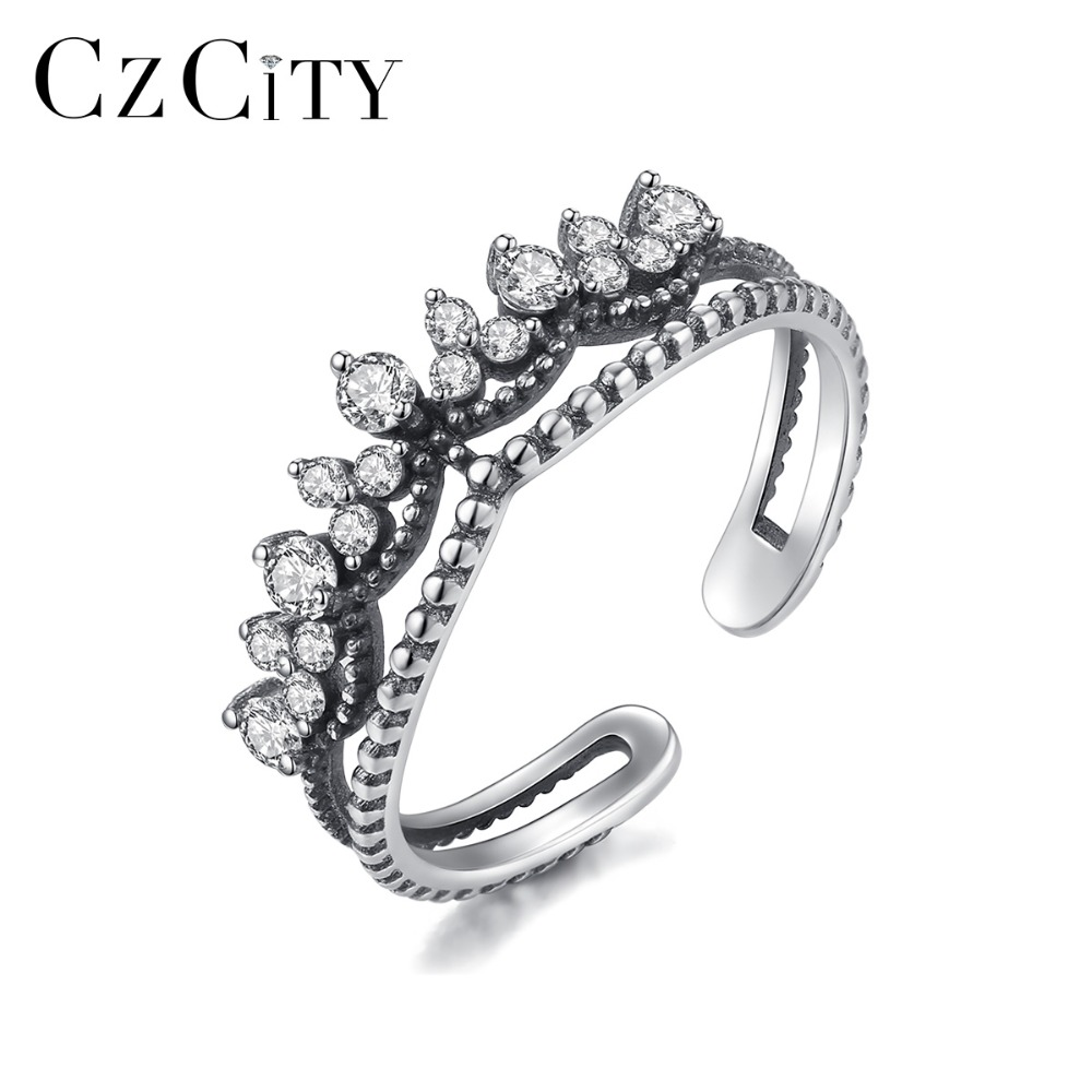 CZCITY 925 Silver Sterling Fashion Vintage Crown Zircon Open Rings For Women Adjustable Retro Bohemia Rings Statement Jewelry