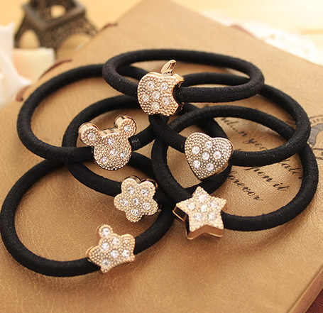 10 Pcs/Lot New Fashion Women Hair Accessories Cute Black Elastic Hair Bands Girl Hairband Hair Rope Gum Rubber Band