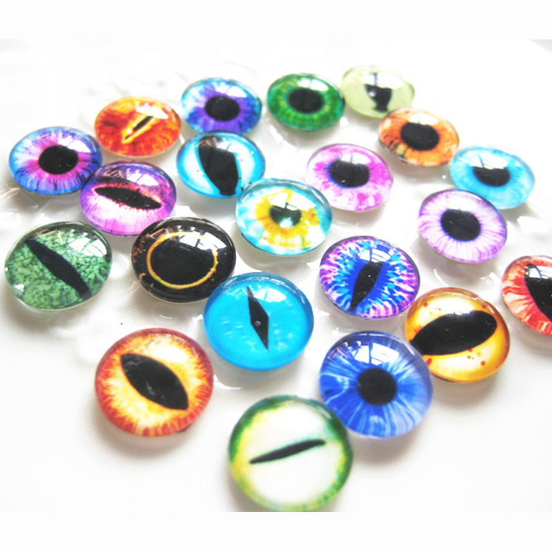 50pcs bag Colorful Glasses Dolls Eyes Dinosaur eyes Doll toys DIY Craft Eyes Dinosaur Dragon Animal