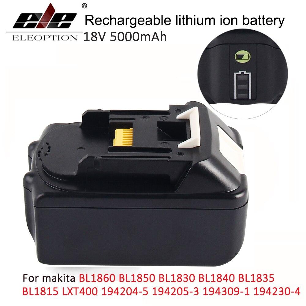 18 v 5000 mah avec LED Indicateur Li-ion Batterie pour Makita 18 v Batterie 5.0ah BL1860 BL1850 BL1830 BL1840 194205 -3 puissance outil