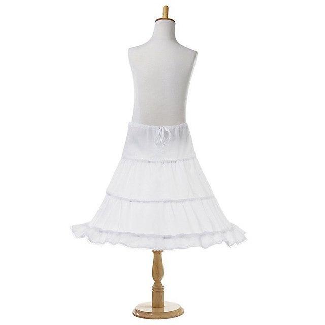 Trắng Dài Flower Cô Gái Váy Váy Lót 2-3 Hoops Trẻ Em Công Chúa Evening Wedding Dresses Khung Làm Cái Vái Phùng Tutu Váy Cô Gái Váy Lót