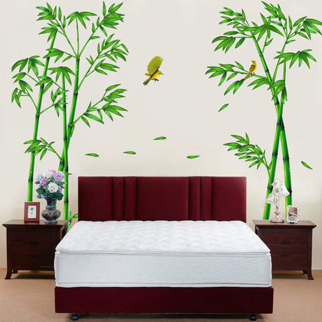 Wall Mural Stickers dctop bamboos wall stickers home decor flying birds bedroom wall