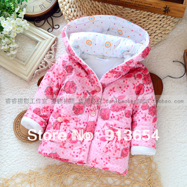 Novo 2014 brasão outono inverno roupas de bebê menina moda casaco amassado outerwear bebê bonito impressão flores meninas quentes casaco