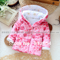 new 2014 autumn winter coat baby clothing fashion girl's wadded jacket baby outerwear cute Print flowers warm girls coat