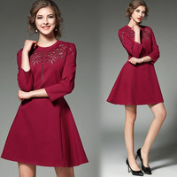 High Quality Autumn Women Classic Neck Embroidery Floral Hollow Dresses Lady Vintage Dress European Retro Style