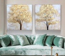 Modern Abstract golden tree canvas Painting art for home decor wall pictures 100%handmade Large size Oil