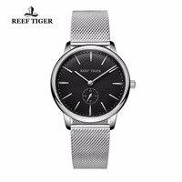 Риф Тигр/RT повседневное Винтаж часы парные кварцевые часы водостойкие полный сталь мужские часы RGA820
