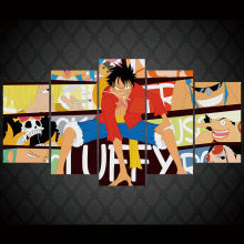 Artistic originality  One piece Luffy anime Canvas Print poster decor in 5 pieces 20x35cmx2,20x45cmx2,20x55cm