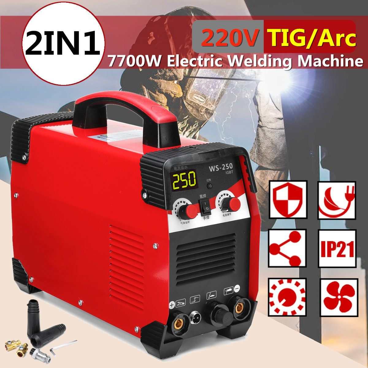 220V 7700W 20 250A 2IN1 TIG/ARC Electric Welding Machine MMA IGBT STICK Inverter For Welding Working and Electric Working