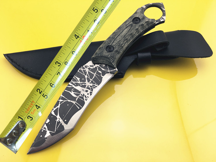 ФОТО MARS MADAM X1821 Messy Pattern Fixed Blade Tactical Straight Knife Camping Hunting Knife Survival Knives Wood Handle