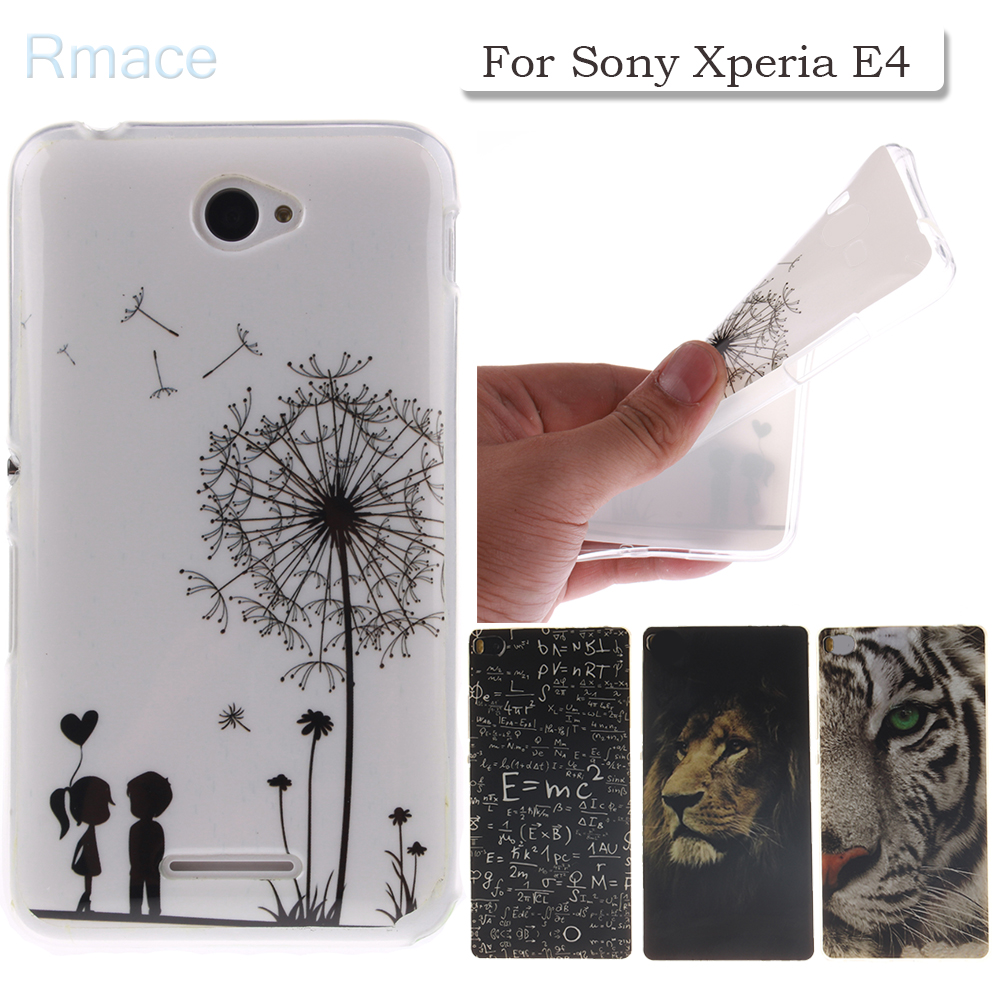 For Sony Xperia E4 Case Cute Cartoon Tiger Painted Soft TPU Skin Back Phone Cover Case For Sony Xperia E4 / E4 Dual E 4 E2105 ...