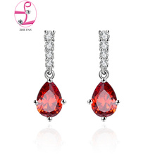 Zhe FanWater Drop Earrings For Female Party Engagement Wedding Gift Prong Setting Red Dangle Earring Brand Jewelry