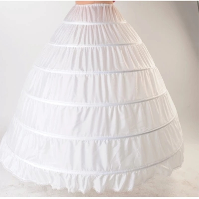 XCOS Lace Edge 6 Hoop Petticoat Underskirt For Ball Gown Wedding Dress 110cm Diameter Underwear Crinoline Wedding Accessories