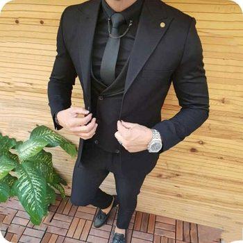 Stylish Design One Button Black Groom Tuxedos Groomsmen Peak Lapel Mens Suits Blazers (Jacket+Pants+Vest+Tie) W:1131