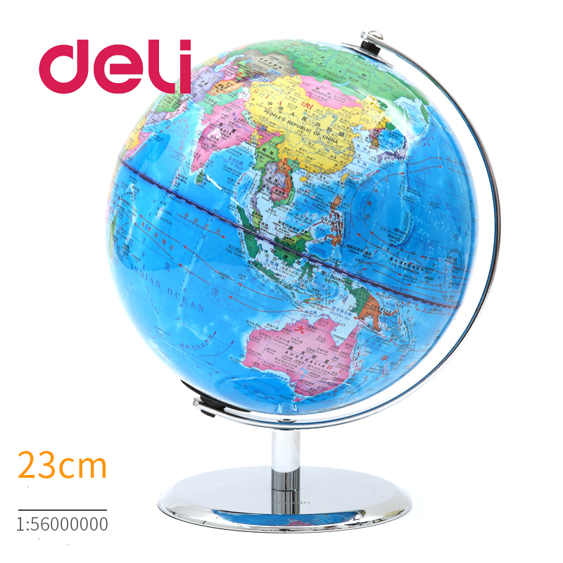 Deli Map Geography Stereoscopic 3d World Earth Globe Led Light Educational Metal Stand Home Ideal Miniatures Gift Office Gadgets Pure White And Translucent Office & School Supplies