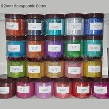 50 g/saco 0.2mm (1/128 .008) pó holográfico do brilho pó holográfico dos pigmentos do brilho do pó do prego de holo para o pó 12 cores do prego do gel