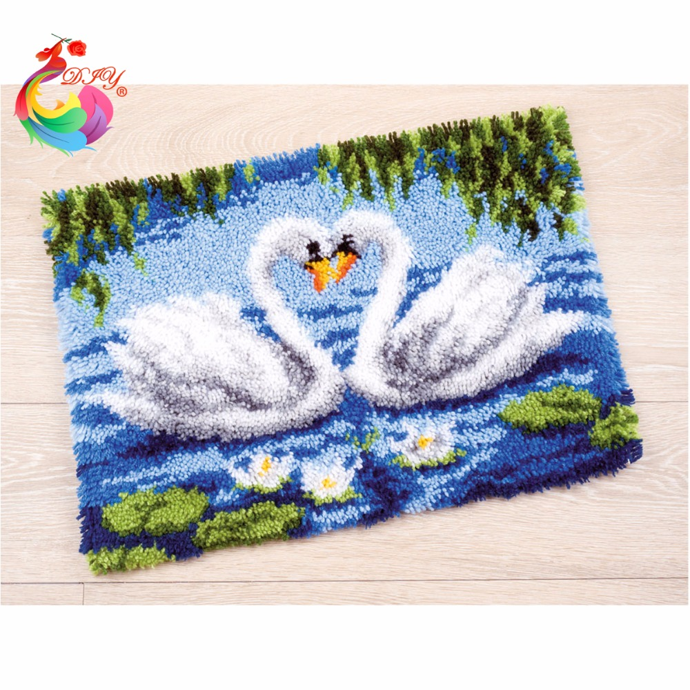 Us 16 79 44 Off Free Shipping Hook Rug Kit Diy Unfinished Crocheting Yarn Mat Latch Floor Carpet Set Cross Sch Swan Picture In