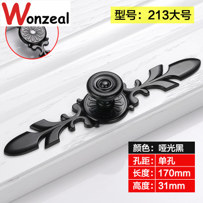Single hole Knob  Dia. 24mm/28mm Modern Kitchen Furniture black Handle  bedroom drawer pulls with flower carving the aluminum knob wide 15mmx high shaft hole flower 6mm 17mm