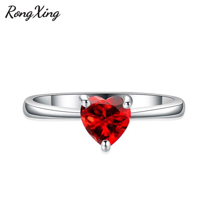 RongXing 925 пробы заполненный серебром браслет с сердцем из опала камень кольца для женщин Винтажная Мода фиолетовый/красный/синий/кольцо с зеленым Цирконом подарок - Цвет основного камня: Red