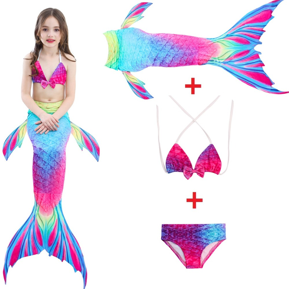 Mother & Kids 9 Colors Kids Mermaid Tail Swimsuit Bikini Girls Swimming Mermaid Tail Can Add Flipper Mermaid Costume Swimwear Bathing Suit