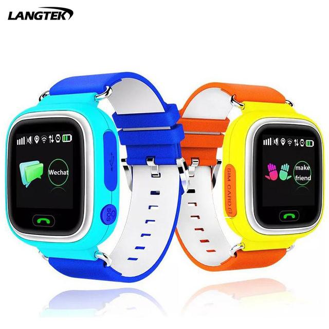 Posição langtek gps wifi tela de toque smart watch q90 crianças monitor de chamada sos localizador rastreador criança seguro anti perdido