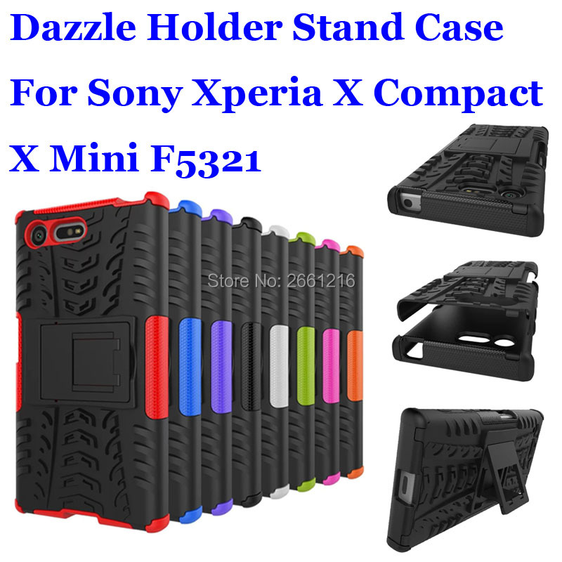 For Sony Xperia X Compact / X Mini F5321 Dazzle Shockproof Soft Silicon & Hard Plastic Dual Armor Back Case Stand Holder Cover