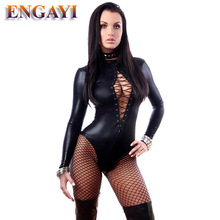 ENGAYI Brand Summer Women Faux Leather Latex Erotic Lingerie Sexy Underwear Babydoll Dress Dresses Costumes Porn Teddy A1066