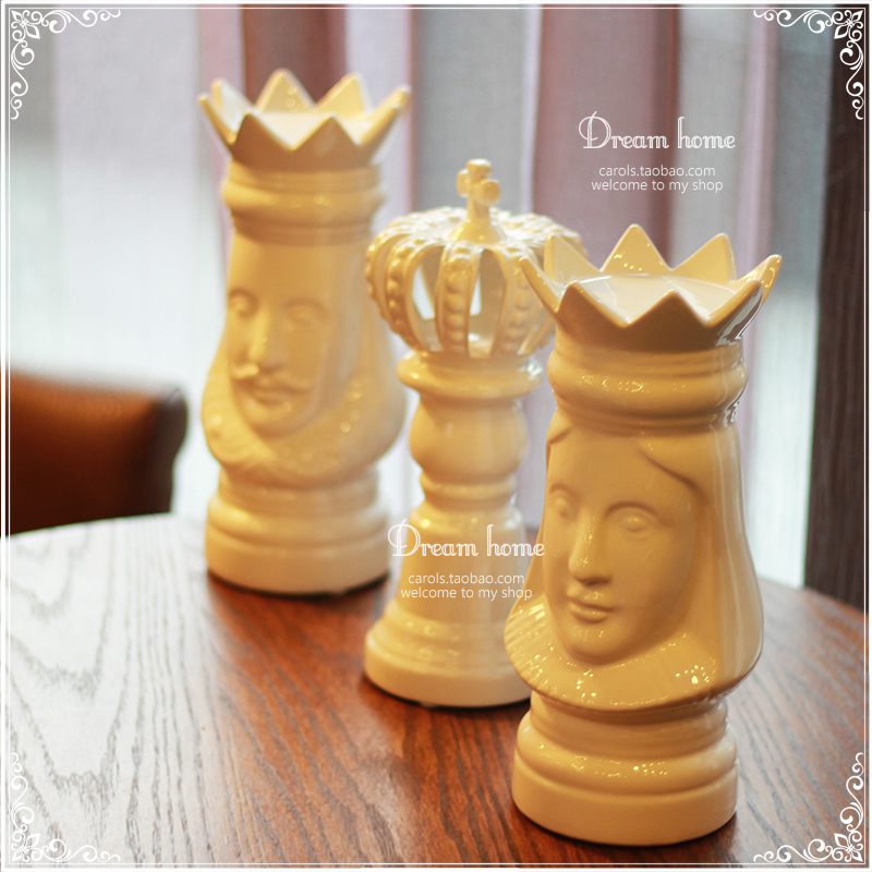 Ceramic chess king queen crown home decor crafts room for Crown decorations home