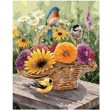 WEEN Flowers and birds-DIY Painting By Numbers,Modern Wall Art Picture,Oil Canvas Painting, Acrylic Paint,Unique Gift 16x20inch