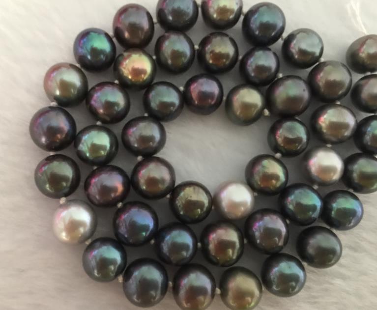 elegant 9-10mm tahitian round multicolor pearl necklace 18inch 925 silverelegant 9-10mm tahitian round multicolor pearl necklace 18inch 925 silver