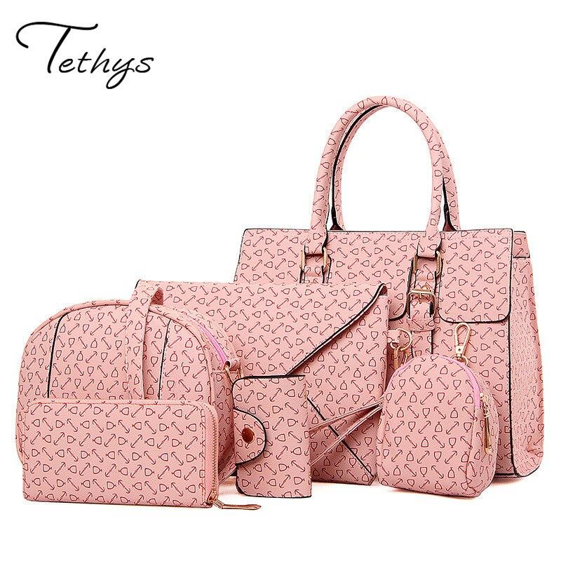 ФОТО 2017 Six set Women Messenger bag female Shoulder Bag high quality leather Handbag Tote Crossbody Bag sac a main bolsa feminina