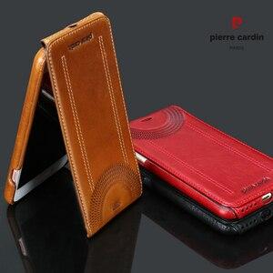 Image 2 - Original Pierre Cardin Phone Cases Bags For iPhone 7 8/ 8 Plus Cover Genuine Leather Vertical Flip Case For iPhone 8 7 Plus Case
