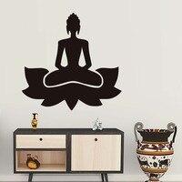 DCTOP Meditate Yoga Lotus Pose Wall Sticker Art Vinyl Home Decor Buddhism Black Printed Decals