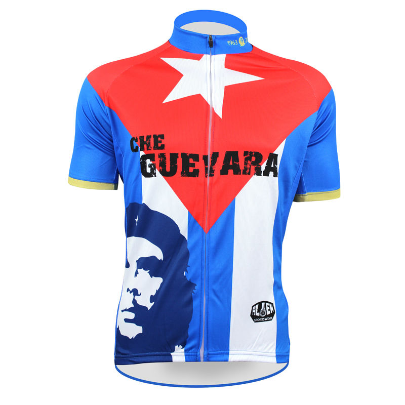 ФОТО Men top Sleeve Cycling Jersey Che Guevara Full Zipper Bike Shirt Blue / White / Red Cycling Clothing Number 50 Size XS-5XL