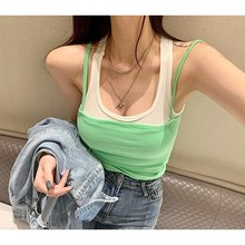 Pengpious wholesale price women singlet slim fit faux two pieces women hot sell top summer fashion trend super elastic(China)