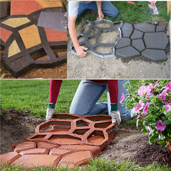 Wholesale 1Pcs DIY Plastic Path Maker Mold Manually Paving Cement Brick Molds The Stone Road Auxiliary Tools For Garden Decor