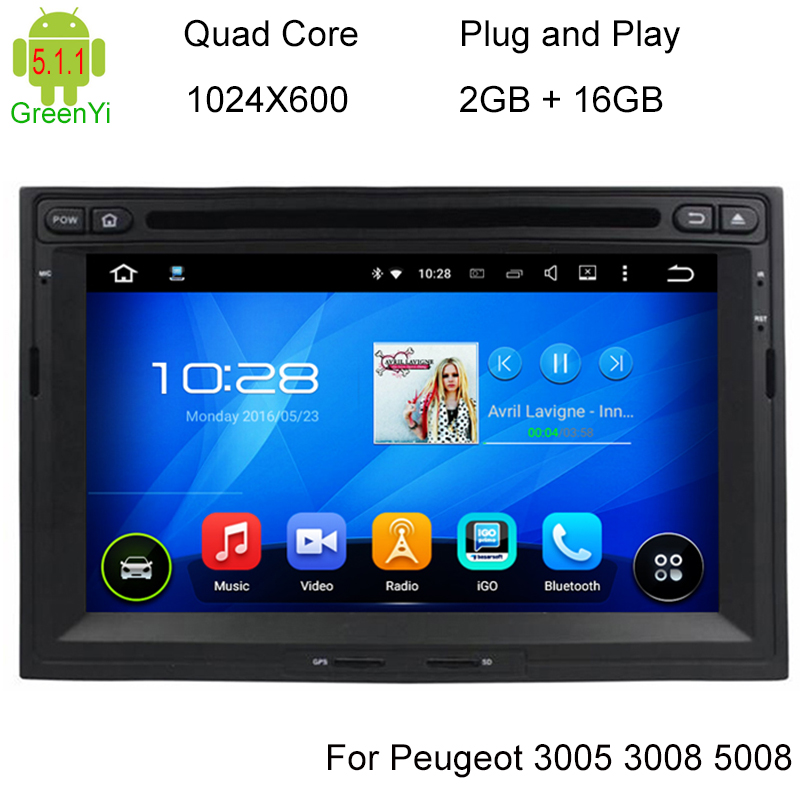 hd 1024x600 android 5 1 car dvd stereo for peugeot 3005 3008 5008 partner berlingo auto radio. Black Bedroom Furniture Sets. Home Design Ideas
