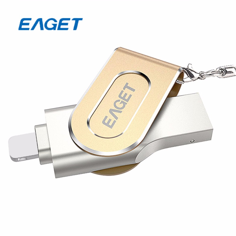 EAGET USB OTA Flash Drive 128GB USB3.0 MFi Authorization OTG PenDrive Stylish Rotation Metal 8 Pin U Disk for iPhone PC Freeship eaget eaget ez02 т обычный металл otg у диска адаптер u телефонный разъем интерфейсов цян цвет type c