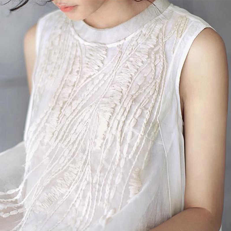 790acb85c14 ... Summer Style Solid White Silk Embroidery Chiffon Sleeveless Women Dress  Brand Casual Loose Vintage Long Maxi ...