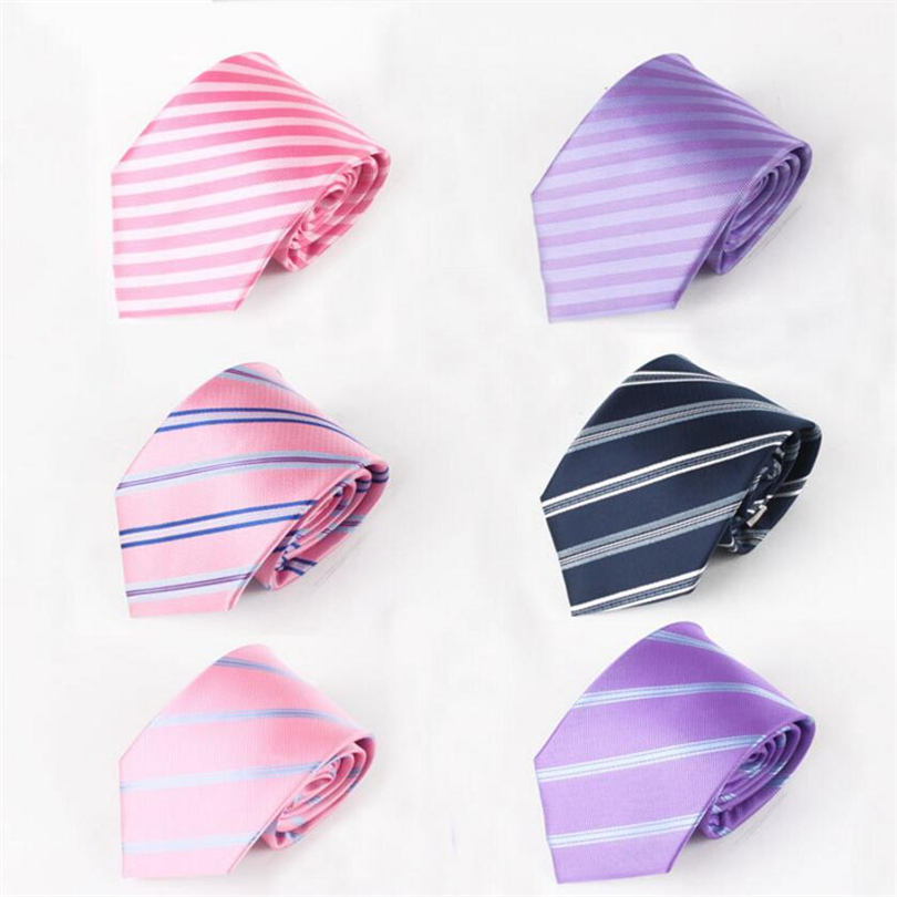 Casual Mens Ties Formal Business Wedding Party Man Shirt Silk Necktie Jacquard Striped Ties Women Suit Accessories Pink Ties