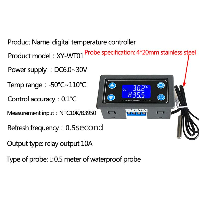 XY-WT01 Temperature Controller Digital LED Display Regulator Thermostat Switch