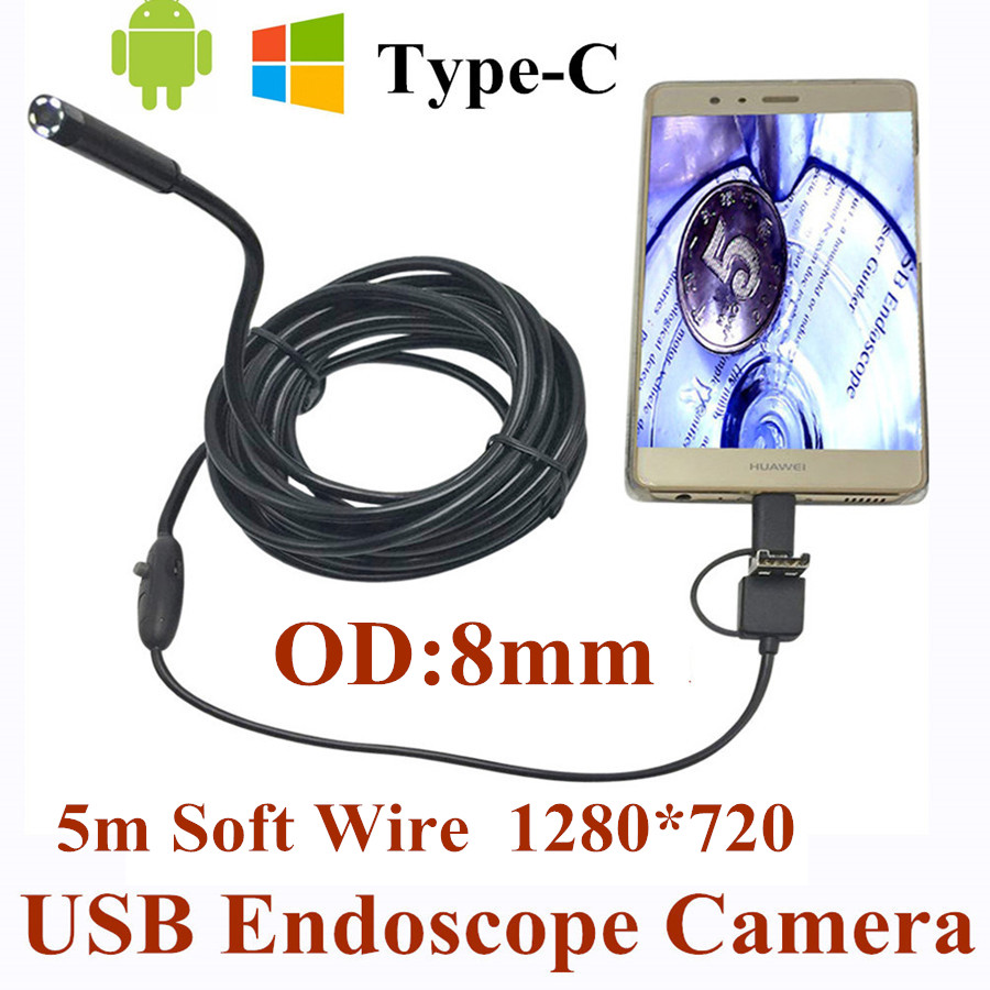 8mm 3 in 1 USB Endoscope Camera 5M Soft Wire IP66 Waterproof Snake Tube Inspection Android OTG Type-C USB Borescope Camera wire world starlight usb 3 0 a b 0 5m