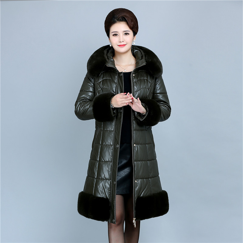 2018 New Fashion Winter Soft Leather Jacket Long Coat Women Big Fur Collar Hooded Thicken PU   Parkas   Female Warm Outerwear 6XL