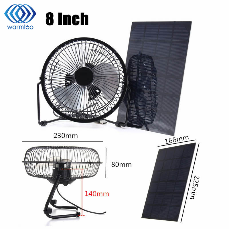 Black Solar Panel Powered +USB 5W Iron Fan 8Inch Cooling Ventilation Car Cooling Fan for Outdoor Traveling Fishing Home Office