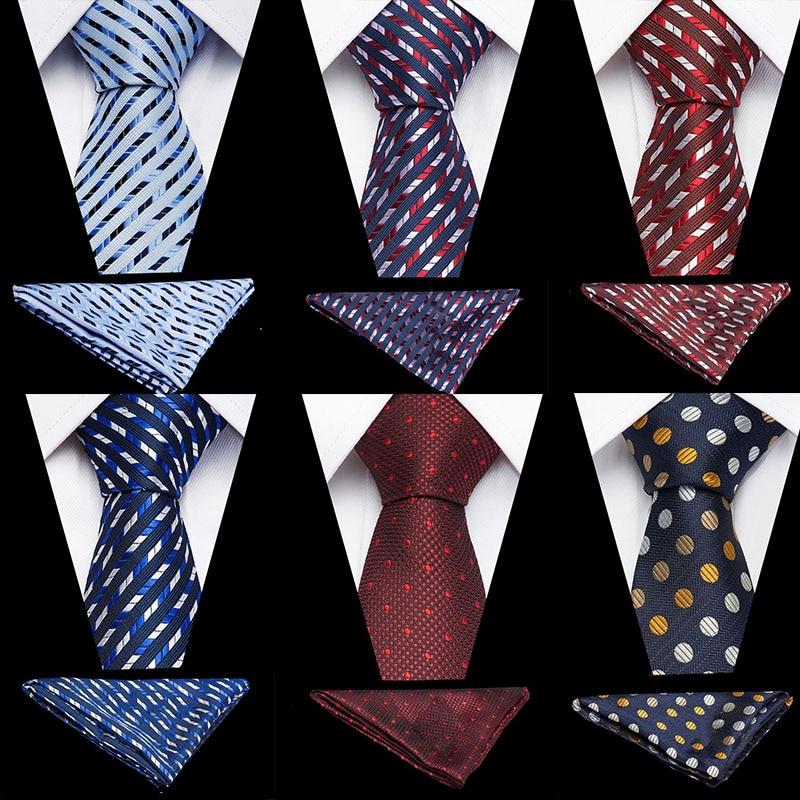Fashion Men's 100% Silk Tie Pocket Square Set Striped Paisley Neckties Wedding Party Business Neck Ties 8CM Handkerchief