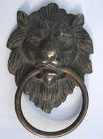 Copper Brass CHINESE Crafts Asian Elaborate Chinese Classical Copper Fierce Lion Head Door Knocker