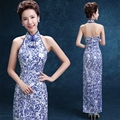 2016 Blue Porcelain Long Cheongsam Dress Traditional Chinese Wedding Dress Oriental Sexy Backless Qipao Modern Qi Pao