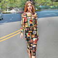High Quality 2017 Women's Spring New Runway Suit Set 2 Piece Long Sleeve Short Tops + Character Printed Sexy Mermaid Skirt suit