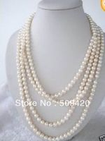 FREE SHIPPING HOT100 LONG True WHITE FRESHWATER PEARL NECKLACE 7 8mm