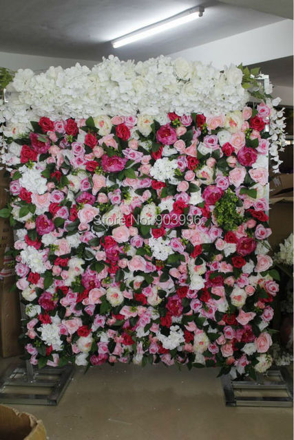 SPR 1939-2 High quality wedding flower wall with green stage backdrop decorative wholesale artificial flower table centerpiece
